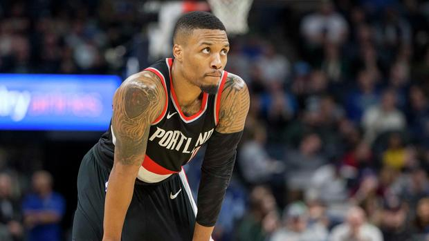 Dec 18, 2017; Minneapolis, MN, USA; Portland Trail Blazers guard Damian Lillard (0) looks on during the second half against the Minnesota Timberwolves at Target Center. Mandatory Credit: Jesse Johnson-USA TODAY Sports
