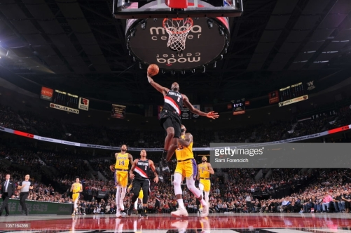 PORTLAND, OR - November 3: Al-Farouq Aminu #8 of the Portland Trail Blazers dunks the ball against the Los Angeles Lakers on November 3, 2018 at Moda Center in Portland, Oregon. NOTE TO USER: User expressly acknowledges and agrees that, by downloading and/or using this Photograph, user is consenting to the terms and conditions of the Getty Images License Agreement. Mandatory Copyright Notice: Copyright 2018 NBAE (Photo by Sam Forencich/NBAE via Getty Images)